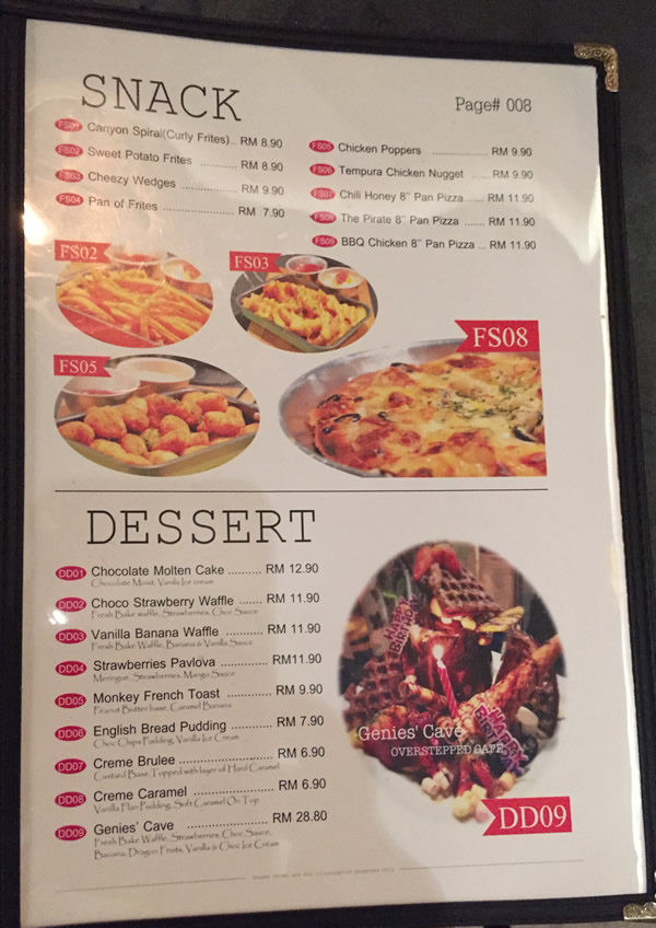 Overstepped Cafe Menu - Snack & Dessert