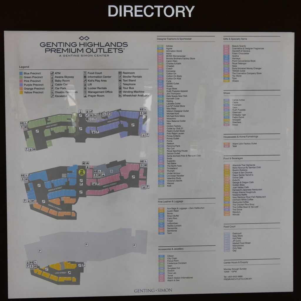 Genting Premium Outlet Directory