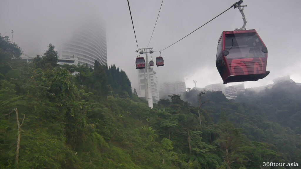 During ascending to the SkyAvenue station we met a cloud passing by the Resort World Genting