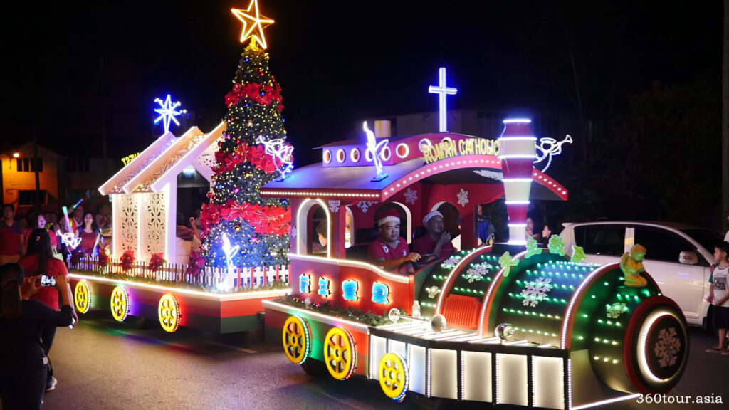 The colorful train float