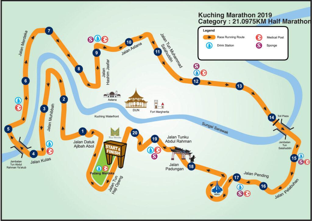 21Km半程马拉松的官方路线。