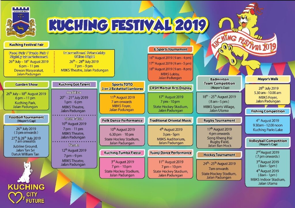 Official Kuching Festival 2019 Event List.