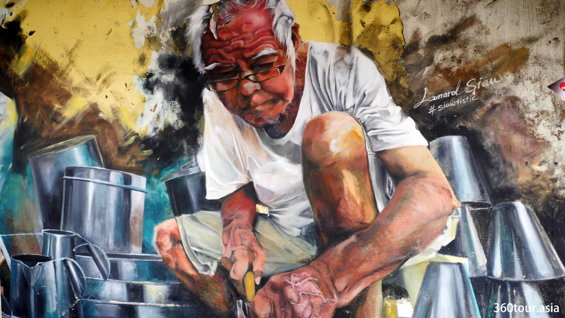 Leonard Siaw Street Art – Symphony of the Tinsmith Mural at Carpenter Street Kuching